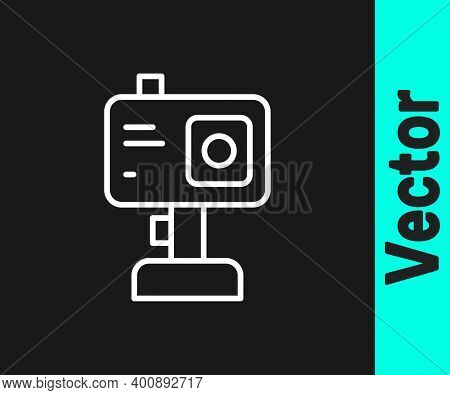 White Line Action Extreme Camera Icon Isolated On Black Background. Video Camera Equipment For Filmi
