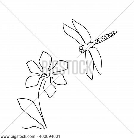 One Line Drawing Dragonfly Icon, Odonata In Sketch Art Style