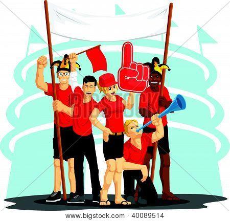 Group of Fans Cheering with Foam Finger, Vuvuzela, Flag & Banner