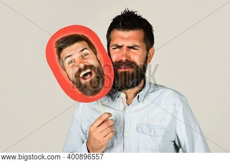 Advertising. Face Expression. Emotions. Bearded Man Holds Board With Face. Feeling And Emotions. Fac