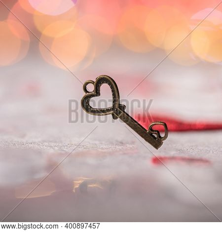 Key Of My Heart, Love Valentine Concept. Valentines Day Postcard. Love Concept For Mothers Day And V
