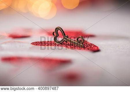 Key Of My Heart, Love Valentine Concept.  Valentine's Card, Valentine's Day, Banners, Postcard. Key