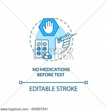 No Medications Before Test Concept Icon. Blood Test Tip Idea Thin Line Illustration. Absorbing Into