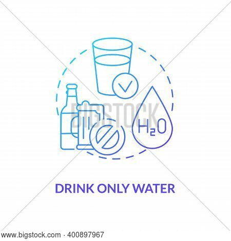 Drinking Only Water Concept Icon. Blood Test Tip Idea Thin Line Illustration. Medical Advice. Fastin