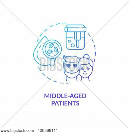 Middle-aged Patients Concept Icon. Health Screening Age Group Idea Thin Line Illustration. Heart, Lu