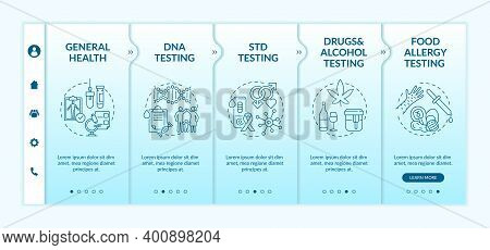 Top Laboratory Testing Categories Onboarding Vector Template. Drugs, Alcohol Testing. Food Allergy C