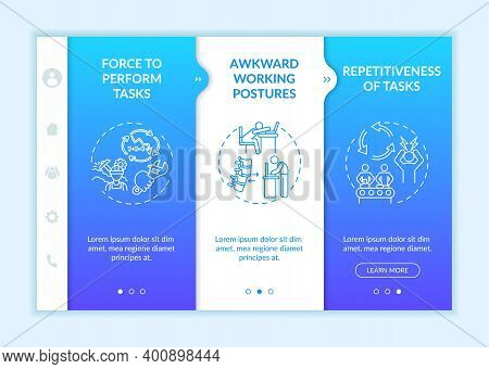 Workplace Safety Stressors Onboarding Vector Template. Awkward Working Postures. Tasks Repetitivenes