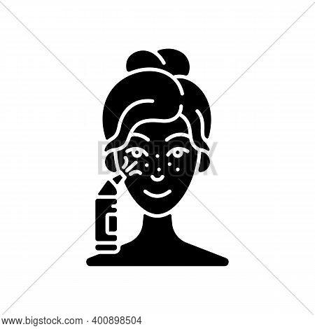 Blackhead Remover Black Glyph Icon. Pore Retexturizing. Treating Blackheads And Whiteheads. Removing