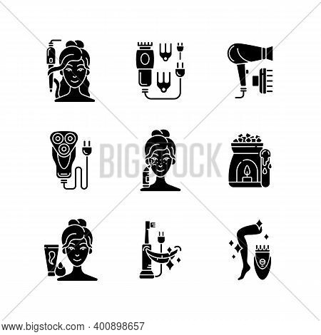 Skincare Routine Black Glyph Icons Set On White Space. Hairstyling Appliance. Electric Hair Clippers