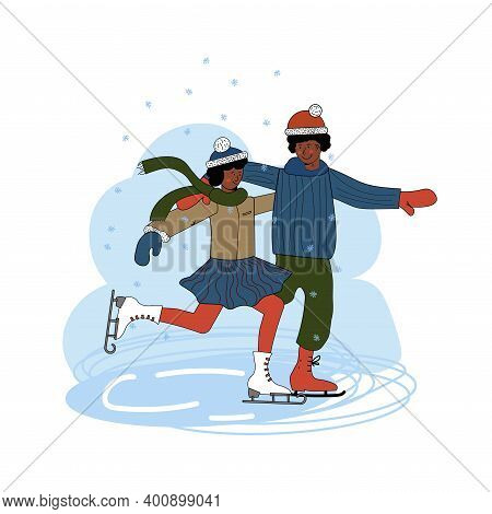 Ice Skating Couple. A Dark-skinned Man And Woman Are Dressed In Outerwear. Time Together. Winter Out