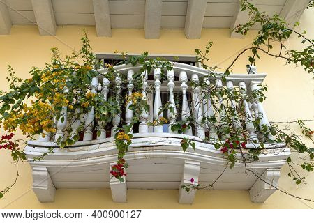 Blank Balcony Full Of Flowers In The City Of Cartagena Colombia