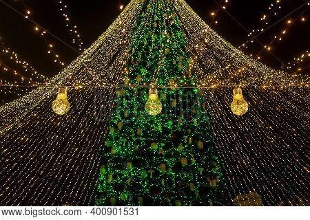 The Main Christmas Tree Of Ukraine On Sophia Square In Kiev. Christmas Tree In Kiev