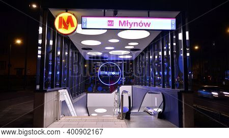 Warsaw, Poland. 25 December 2020. External View Of The Entrance To The Subway Station Mlynow In Nigh