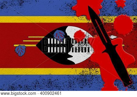 Swaziland Flag And Black Tactical Knife In Red Blood. Concept For Terror Attack Or Military Operatio