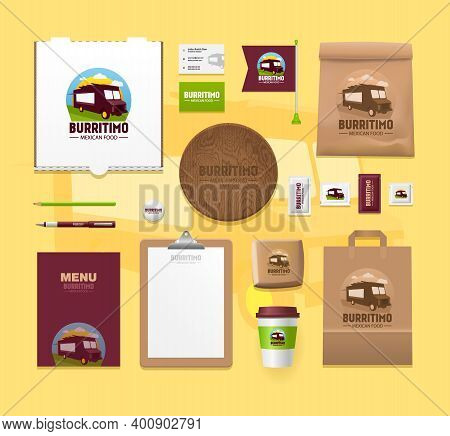 Vector Food Identity Template Design Set. Branding Mock-ups. Packages Mock-up Pack For Your Company