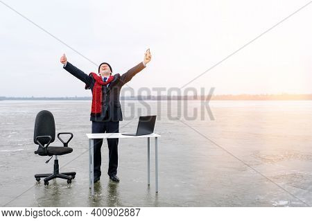 Senior Smiling Bearded Businessman In Suit Stands With Outstretched Hands And Gesturing Thumbs Up Ne