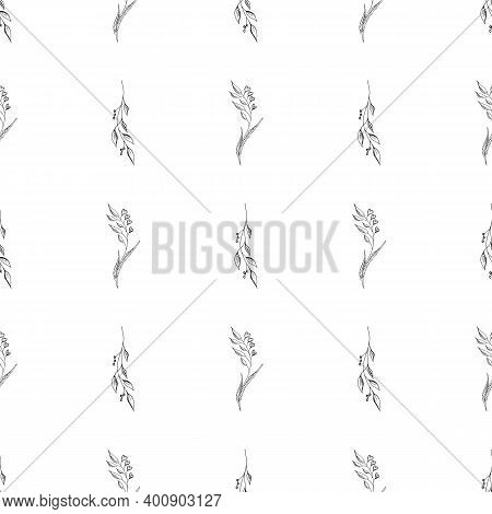 Doodle Simple Vector Seamless Pattern Of Hand-drawn Leaves. Seamless Pattern Of Hand-drawn Branches.