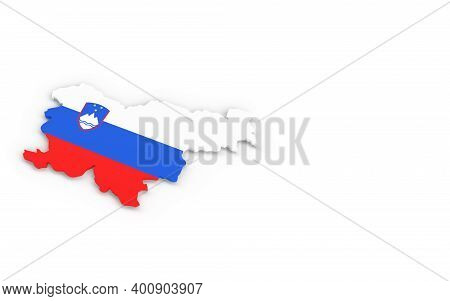 Map Of Slovenia With Slovenia Flag 3d Rendering