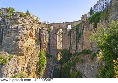 The Puente Nuevo - The New Bridge - Is The Most Famous Of The Bridges In Ronda, Andalusia