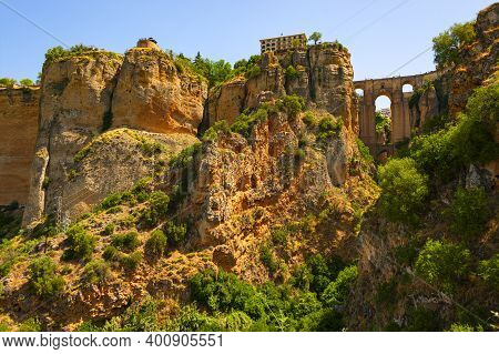 Mountaintop Spanish Town Ronda, One Of The Most Visited In Andalusia, Offers Stunning Views Of The T