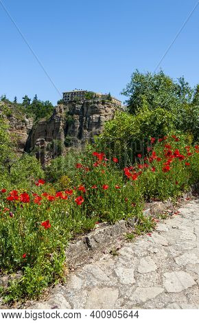 Spectacular Views Of The Tajo Gorge And Flower Fields Near The Puento Nuevo (new Bridge) In Ronda, S