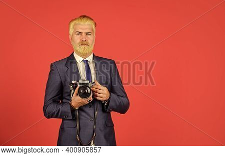 Manual Settings. Photographer With Blond Beard And Mustache. Content Creator. Man Bearded Hipster Ph