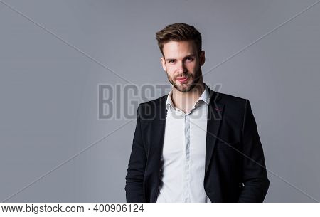 Looking Trendy. Well Groomed Hairstyle. Male Beauty And Fashion Look. Formal Office Costume For Bear