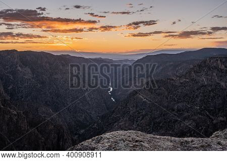 Sunset Over Black Canyon Of The Gunnison In Colorado Summer