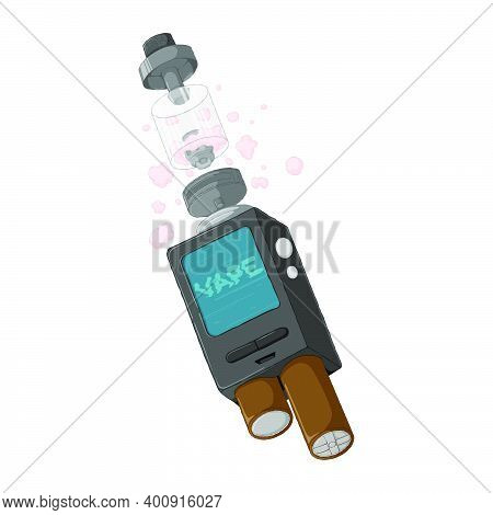 Mech Mod Vape Construction With Rebuildable Dripping Atomizer. E-cigarette Concept. Electronic Cigar