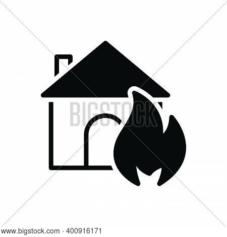 Black Solid Icon For Suddenly Abruptly House Sudden Unexpected Incident Accident Burning Danger Expl