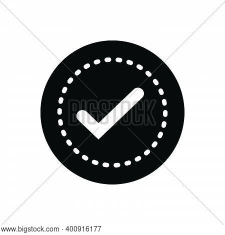 Black Solid Icon For Sure Approval Completed Confirm Positive Assured Evidently Check-mark True Sign