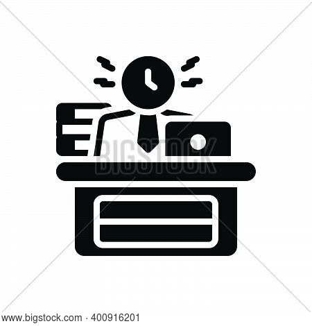 Black Solid Icon For Busy Engaged Dissipated Working Active Laboring Diligent Employed At-work Busin