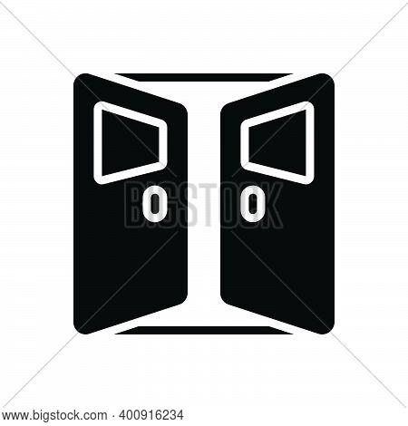 Black Solid Icon For Door Open Entrance Gateway Inlet Doorway Exit Entry Interior
