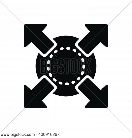 Black Solid Icon For Extend Expand Enlarge Compact Compress Distend Fullscreen Develop Widen Broaden