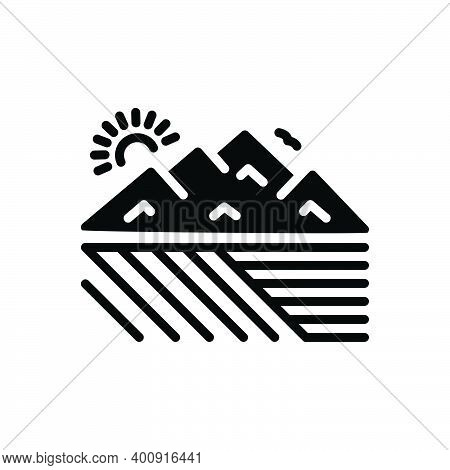 Black Solid Icon For Extensive Valley Canyon Stilted Far-flung Large Large-scale Sizeable Mountain M