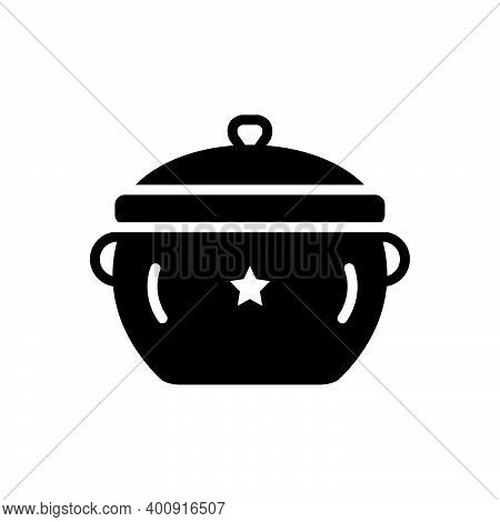 Black Solid Icon For Pot Utensil Casserole Vessel Steamship Accessory Appliance Cookery Cuisine Culi