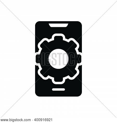 Black Solid Icon For Preference Config Phone Gearwheels Service Settings Communication Customize App