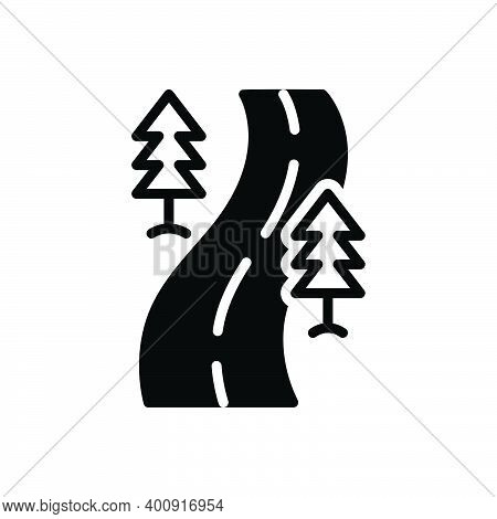 Black Solid Icon For Direction Road Street Roadway Driveway Highway Path Walkway Route Journey Navig