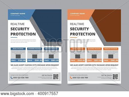 Real Time Security Flyer Design. Security Camera Promotion. Camera Advertising Template