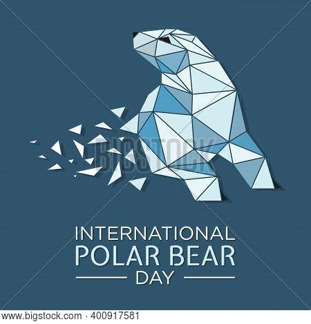 North Arctic Polar Bear In Polygon Art Style. Polar Bear Walking At Night Along The North Pole. Pola