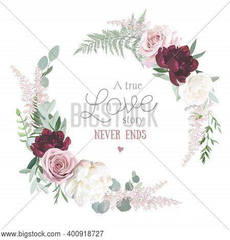 Greenery, Burgundy Red And White Peony, Blush Rose Flowers Vector Design Round Invitation Frame. Rus