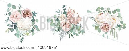 Pale Pink Camellia, Dusty Rose, Ivory White Peony, Blush Protea, Nude Pink Ranunculus, Eucalyptus Ve