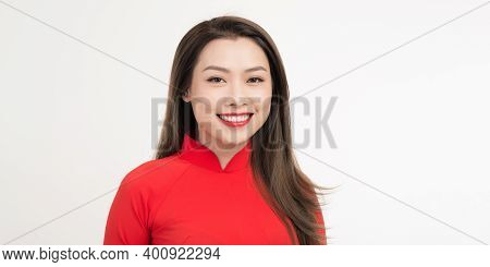 Asian Girls With Ao Dai, Vietnam Traditional Dress On White Background