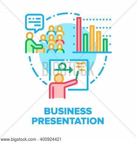 Business Presentation Room Vector Icon Concept. Businessman Presenting Work Planning And Working Pro