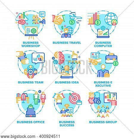 Business Occupation Set Vector Color Illustrations. Business Workshop And Travel, Computer And Offic