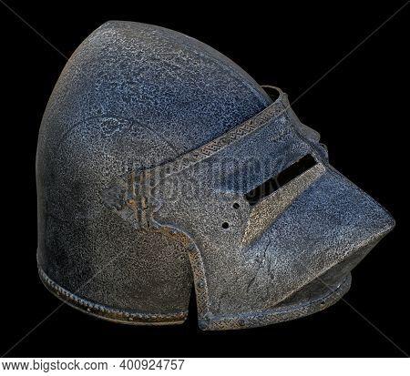 Warrier's Armour Helmet On A Black Background