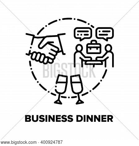Business Dinner Vector Icon Concept. Partners Meeting In Restaurant And Conversation, Businesspeople