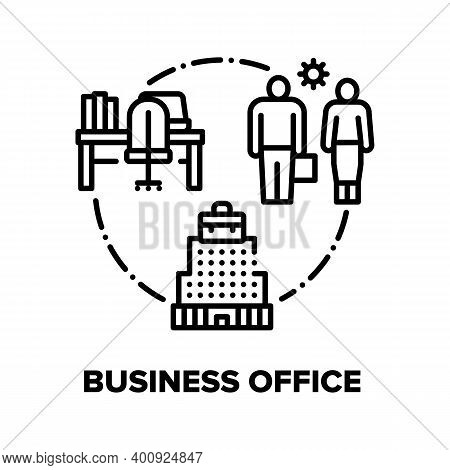 Business Office Vector Icon Concept. Company Business Center Or Coworking Building, Workplace For Em
