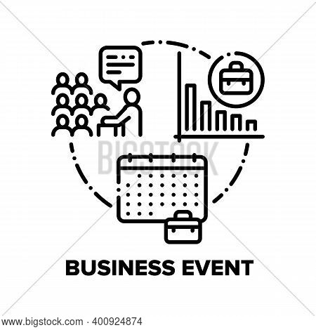 Business Event Vector Icon Concept. Business Conference Or Seminar In Board Room, Team Or Partnershi