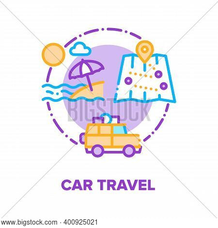 Car Travel Summer Vacation Vector Icon Concept. Car Trip With Family On Beach, Holiday Adventure On